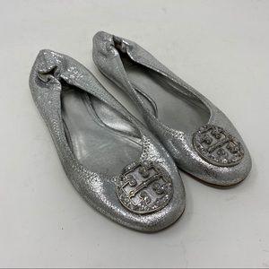 Tory Burch Shoes Reva Flats Leather Logo Glitter